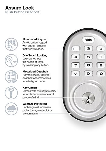 Yale Assure Lock Push Button Deadbolt With Zigbee In Satin