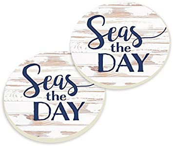 Seas the Day Whitewash Look 4 x 4 Ceramic Coaster 4 Pack