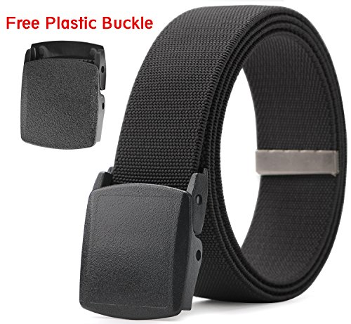 Mens Stretch Elastic Jeans Belt Genuine YKK Plastic Buckle MoAnBee Adjustable Belt Fits up to 42 Inch