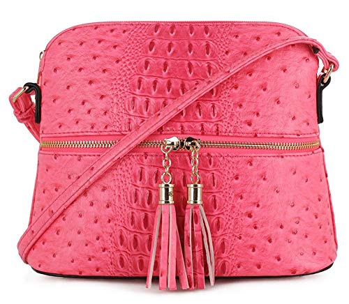 SG SUGU Crocodile Pattern Lightweight Medium Dome Crossbody Bag with Tassel | HPK
