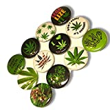 "Custom & Novelty {1"" Inch} 12 Bulk Pack, Mid-Size Button Pin-Back Badges for Unique Clothing Accents, Made of Rust-Proof Metal w/ ""Don't Panic, It's Organic"" Marijuana Set 420 Pot Style [Multicolor]"