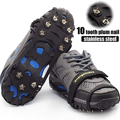 Crampons-10 Teeth Stainless Steel Anti Slip Ice Cleats,Micro Spikes Ice Snow Grips Traction Cleats System Safe Protect for Walking,Suitable for Walking on Ice,Jogging or Daily Life use. (Black, XL)