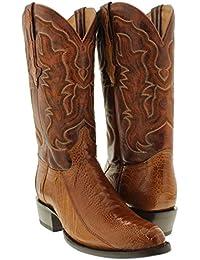 Men's Cognac Genuine Ostrich Leg Skin Cowboy Boots Round