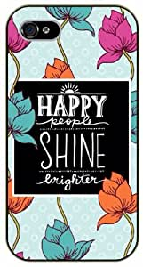 iPhone 5C Happy people shine brighter, floral, black plastic case / Inspirational and motivational life quotes / SURELOCK AUTHENTIC