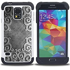 BullDog Case - FOR/Samsung Galaxy S5 I9600 G9009 G9008V / - / Ancient Pattern /- H??brido Heavy Duty caja del tel??fono protector din??mico - silicona suave