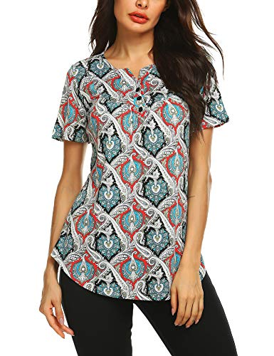 URRU Women's Casual Paisley Printed Shirt Short Sleeve Henley Flare Tunic V Neck Pleated Blouses Tops Red/Black XL