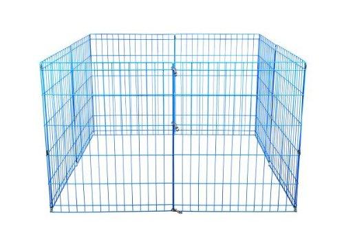 (BestPet Metal Wire Playpen, 24 Inch Tall Blue)