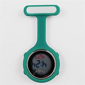 su Mujeres Relojes De Enfermera Digital, Luces De Noche Relojes Unisex Multifunción Siliconas Enfermeras/Broche / Túnica/Bolsillo / Mosquetón Reloj,Cyan: ...