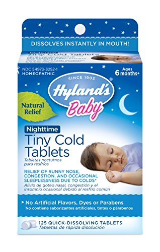 Hyland's Baby Nighttime Tiny Cold Tablets, Natural Symptom Relief of Runny Nose, Congestion, and Cold Symptoms at Night, 125 Count ()