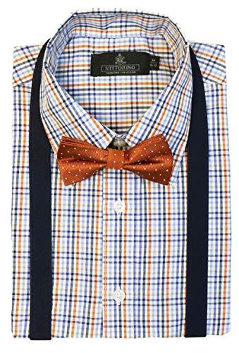 Vittorino Boys' Dress Shirt with Matching Bowtie and Suspenders Set, Orange Plaid, 10/12