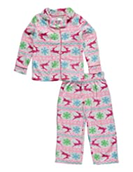 "Komar Kids Little Girls' ""Reindeer & Snowflakes"" 2-Piece Pajamas"