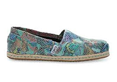 cc320c3432d TOMS Blue Leather Printed Mosaic Women s Classics (5 B(M) US