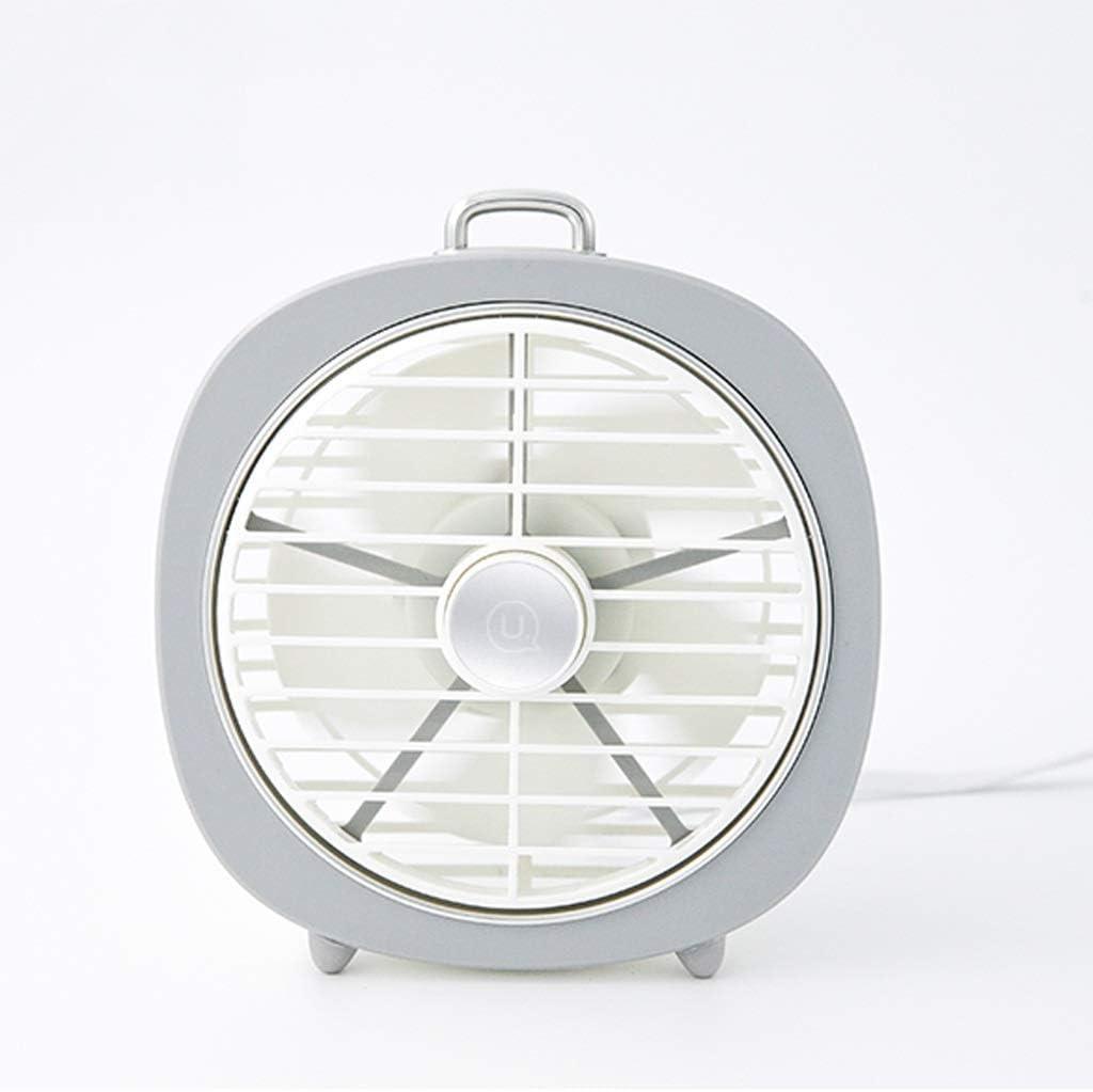 Lsxlsd Mini Fan USB Small Portable Ultra-Quiet Desktop Fan with Night Light Large Wind Fan Color : Gray