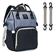 Diaper Bag,Puloa Diaper Bag Backpack,Large Capacity-Multi-Function Travel Backpack Maternity Nappy Bag Organizer,Nurse bag,Fashion Mummy Bag,Waterproof for Baby Care,Stylish and Durable(Gray-Black)
