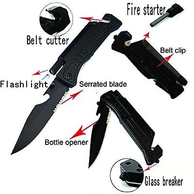 "8"" Multi-Purpose Survival Folding Pocket Knife with Fire Starter Flint, Bottle Opener, Belt Cutter and LED Light ALTAY"