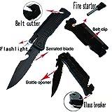 8' Multi-Purpose Survival Folding Pocket Knife with Fire Starter Flint, Bottle Opener, Belt Cutter and LED Light ALTAY