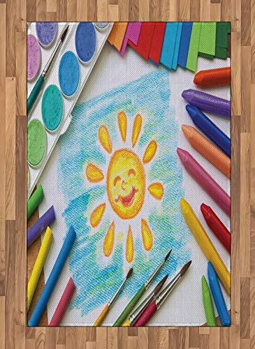 (Ambesonne Crayon Area Rug, Photo of Child's Drawing with Colorful Painting Crafts Happy Sun on Paper Print, Flat Woven Accent Rug for Living Room Bedroom Dining Room, 4' X 5.7', Multicolor)