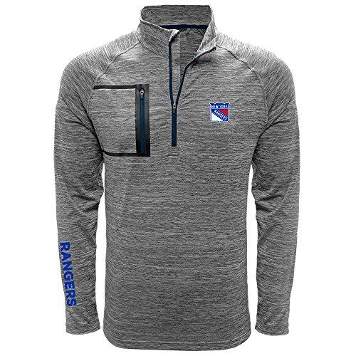 Levelwear LEY9R NHL New York Rangers Men's Vault Wordmark Quarter Zip Mid-Layer Apparel, X-Large, Heather Charcoal/Navy