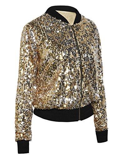 bc175f915 kayamiya Women Sequin Jacket Long Sleeve Sparkly Zipper Front Blazer Bomber  Jacket