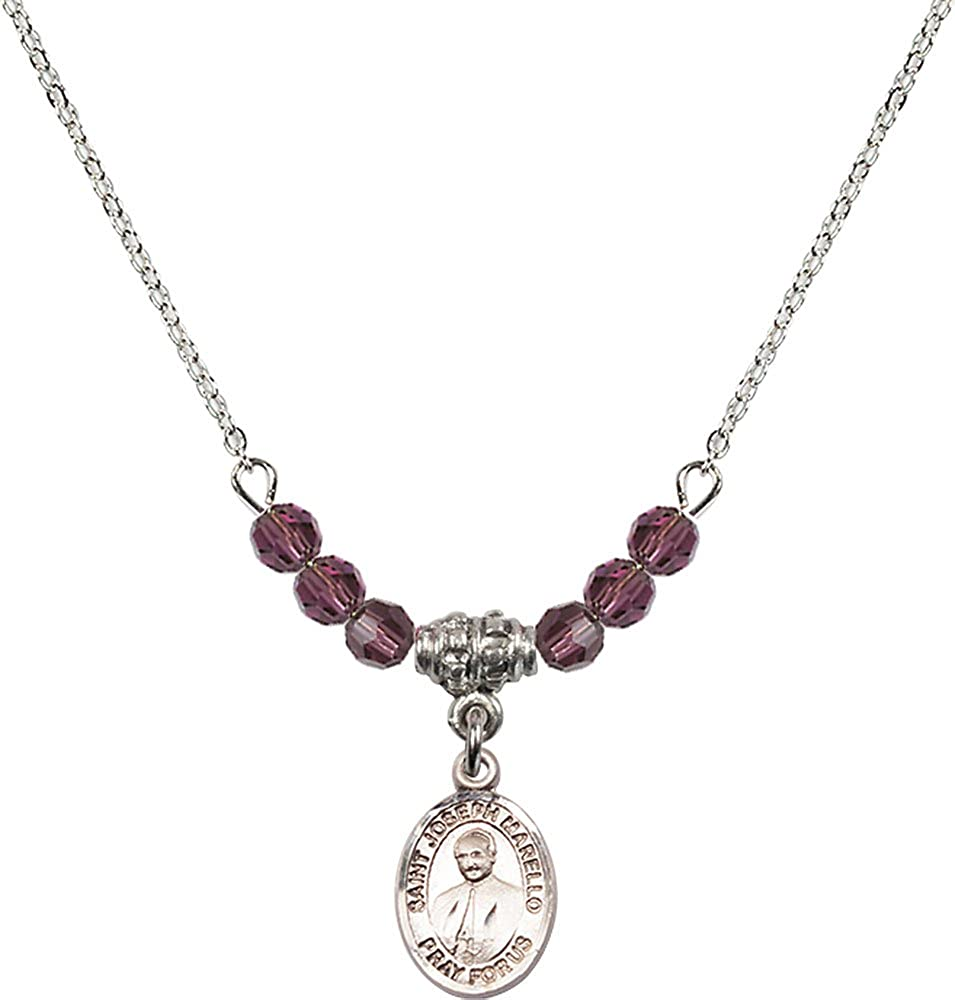 18-Inch Rhodium Plated Necklace with 4mm Amethyst Birthstone Beads and Sterling Silver Saint Joseph Marello Charm.