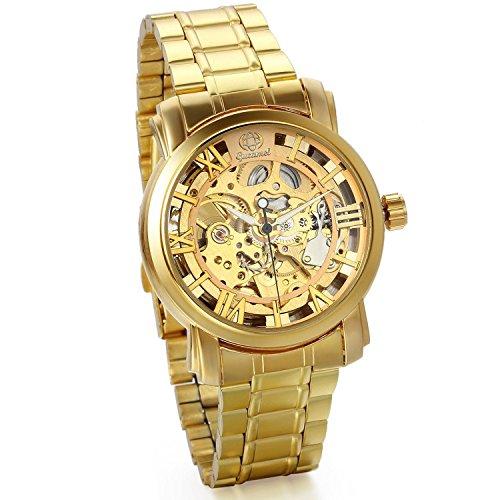JewelryWe Herren Armbanduhr, Business Casual Skelett mechanische Mechanik Uhr mit Edelstahl Armband, Gold