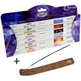 Moods Incense Sticks 6 Pack Gift Set by Stamford PLUS Wooden Incense Holder