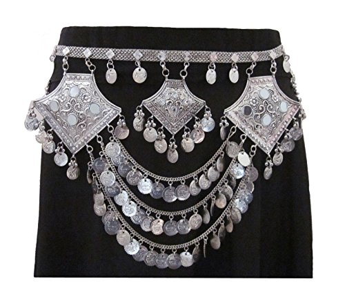Fringe Coin Chain Waist Hip Belt Adjustable | Tribal Fusion Belly Dance Festival Bohemian Gypsy Hippie Boho Cosplay Novelty Fashion Jewelry | Layered Chain Metal Plated Silver Oxidized Vintage Retro -