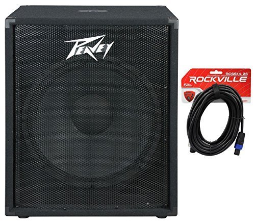 Package: Peavey PV 118 18'' Professional Passive Subwoofer with Vented Bass Sub Enclosure + Rockvile RCSS1425 25' 14 AWG 2-Conductor Speakon to Speakon Pro Speaker Cable by Peavey