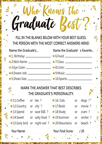 Who Knows Graduate Best Graduation Game Cards 2018 – Grad Party Supplies Decorations(25Ct)