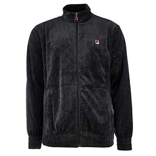Fila Men's Velour Jacket Black Heather - Black Zip Jacket Velour