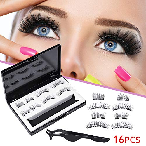 16 Pieces Magnetic Eyelashes 3D No Glue Full Eye and Half Eye 2 Reusable Ultra Thin No Glue Magnetic Lashes with 2 Tweezers (21 MM)