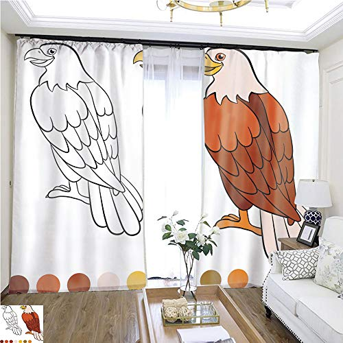 Children Curtain Coloring Page Color me Eagle Cute Eagle Sits and Smiles 1 W96 x L96 Insulated Room Shades Highprecision Curtains for bedrooms Living Rooms Kitchens etc. -