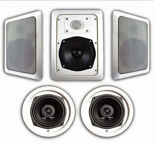 Acoustic Audio HT-55 5.1 Home Theater Speaker System (White, 5) by Acoustic Audio by Goldwood