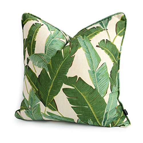 Hofdeco Tropical Pillow Cover ONLY, Green Banana Leaf, 20″x20″