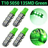 TABEN 160 Lumens Green T10 Bulb W5W 194 168 2825 192 921 175 Wedge 5050-13 SMD LED Car Light Bulbs Replacement Side Marker Dome Map Light Stop Parking Backup Light Bulbs 12V 4-Pack