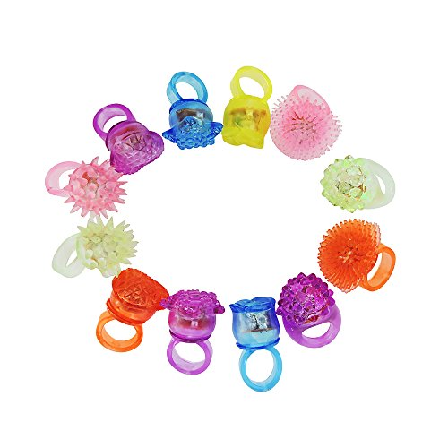 Gxilee Light up Toys Blinking LED Light Jelly Soft Rings for Party, Costumes, Birthday, Wedding, Thanksgiving Day Christmas Celebrations,12 Pack ()