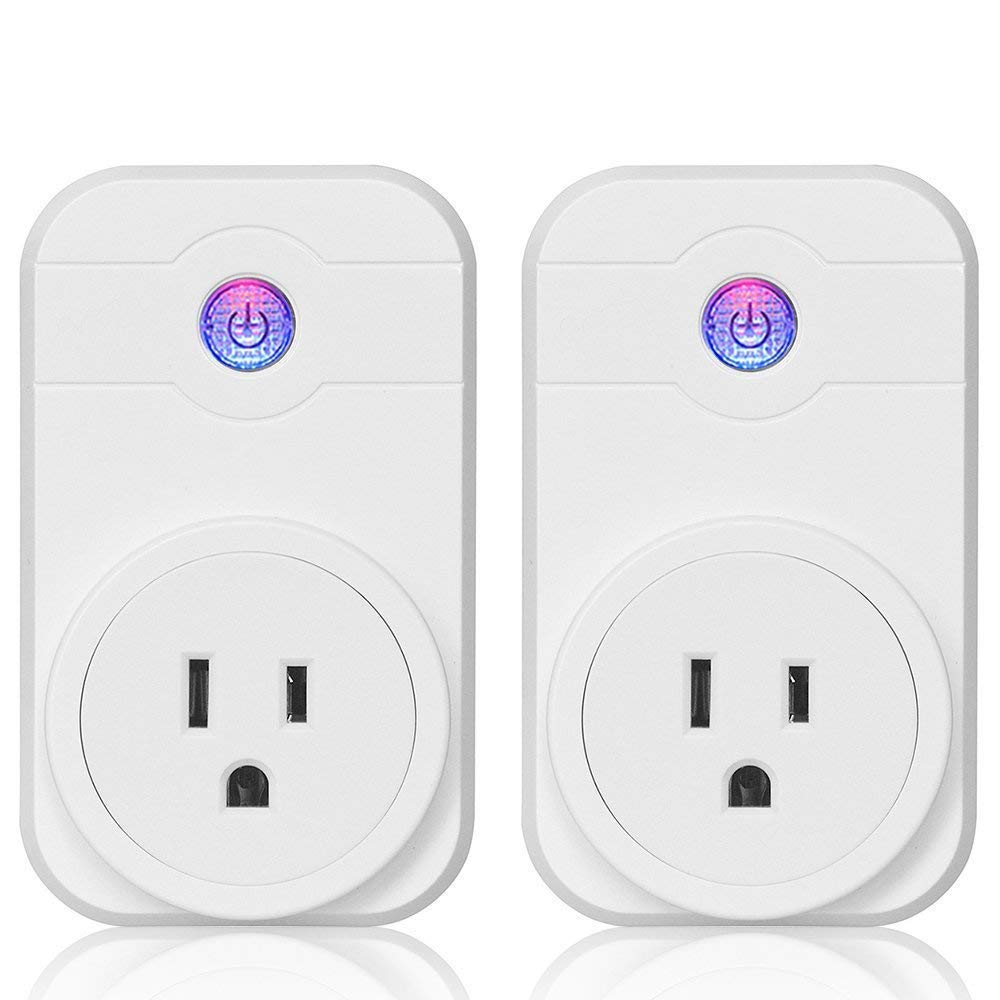 Wifi Smart Plug Outlet Socket- 2 Pack  Smart Socket Compatible With Alexa, Google Home with APP Remote Control, Timer Switch Power, Voice Control