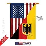 Breeze Decor – US German Friendship Flags of The World – Everyday Impressions Decorative Vertical House Flag 28″ x 40″ Printed in USA