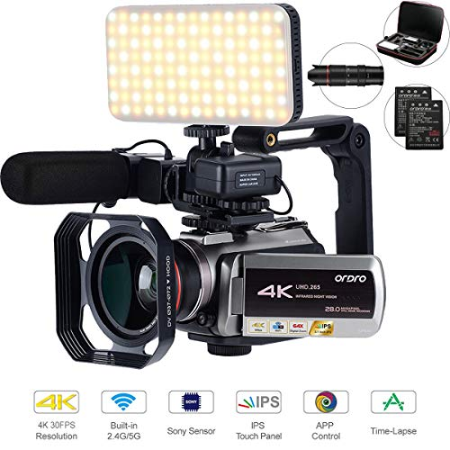 4K Camcorder,UHD.265 Video Coding WiFi 2.4G/5G Transfer, with 64X Digital Zoom,Connecting with Telescope/LED Light/Microphone &Other Accessories (Camera Bag&64 GB SD Card) by Emperor of Gadgets