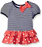 Gerber Graduates Girls Short Sleeve Drop Waist Top with Hemmed Double Ruffle, Navy Stripe, 3T