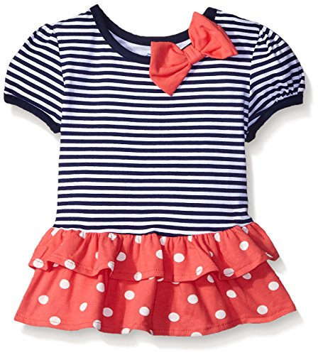 Gerber Graduates Girls Short Sleeve Drop Waist Top with Hemmed Double Ruffle, Navy Stripe, 18 Months