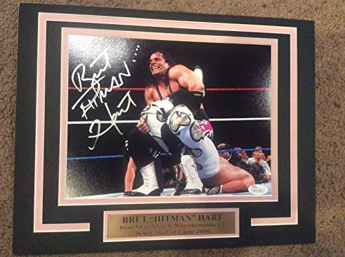 WWE WWF Bret Hitman Hart WM12 11X14 Matted with name plate PHOTO JSA AUTOGRAPH