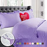 Nestl 2pc Bedding Duvet Cover & Pillow Sham Set, Twin, Lavender Lilac Deal (Small Image)