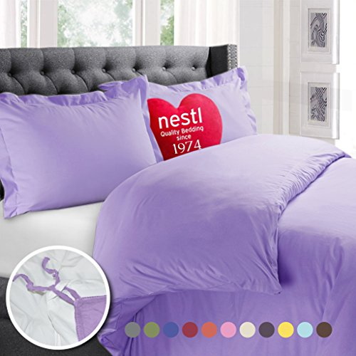 Nestl Bedding Duvet Cover, Protects and Covers your Comforter / Duvet Insert, Luxury 100% Super Soft Microfiber, Twin Size, Color Lavender Light Purple 2 Piece Duvet Cover Set Includes 1 Pillow Shams (Cover 1 Duvet)
