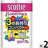 トイレットペーパー 6ロール入 再生紙配合 ダブル 75m くつろぐ花の香り スコッティフラワーパック 3倍長持ち6ロール 1セット(6ロール入×2パック)