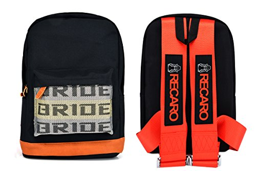Recaro Racing Harness - JDM Bride Racing Backpack with RECARO Racing Harness Shoulder Straps Seat Belt RED