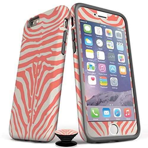 (Phone Accessory Bundle for iPhone 7/8 Plus - Screen Protector, Matte iPhone Case, and Cell Phone Grip with Coral Zebra Design)
