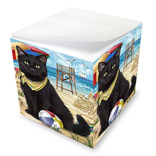 Pet Friendly Beach Black Cat Note Cube NOC51552 by Doggie of the Day
