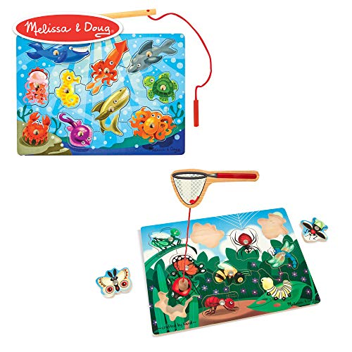 Melissa & Doug Magnetic Wooden Puzzle Game Set, 2-Pack, Fishing and Bug Catching (Adorable Artwork, Sturdy Wooden Construction, 10 Pieces Each)