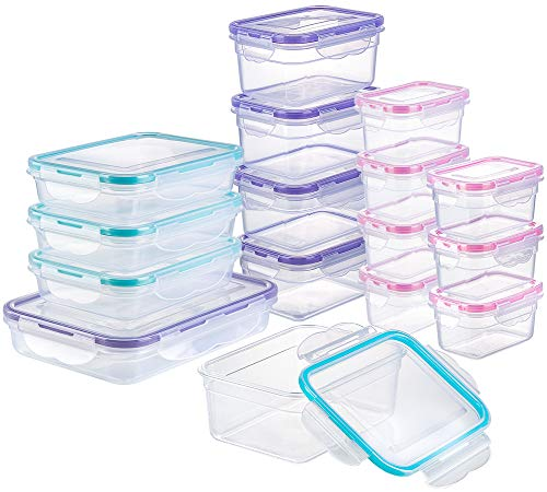 [16 Pack] Food Storage Containers with Lids, Plastic Food Containers with Lids, Airtight Storage Container Sets for Kitchen, Easy Snap Lock, BPA Free & FDA Approved & Leakproof (16Lids&16Containers) from Bayco